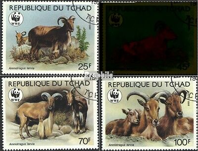 Chad 1171-1174 (complete issue) used 1988 WWF-mane springer