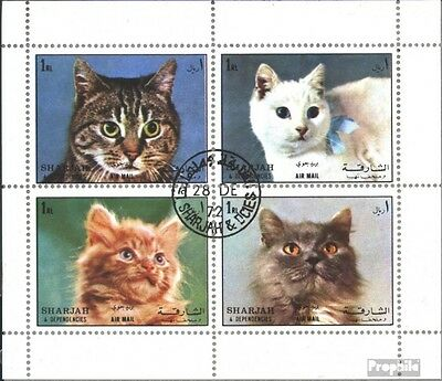 Sharjah 1288-1291 Sheetlet (complete issue) used 1972 Cats