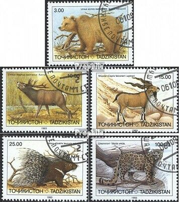 Tajikistan 22-26 (complete issue) used 1993 Affected Mammals