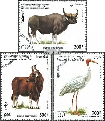 Cambodia 1511-1513 (complete issue) used 1995 Protected Animals
