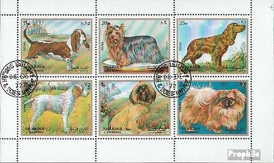 Sharjah 1270-1275 Sheetlet (complete issue) used 1972 Dogs