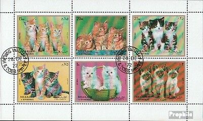 Sharjah 1386-1391 Sheetlet (complete issue) used 1972 Kittens
