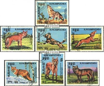 Cambodia 577-583 (complete issue) used 1984 Wild Dogs