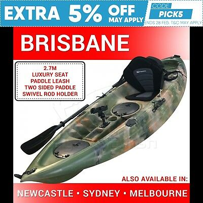 2.7M Fishing Kayak Single 2017 Recreational Sit on + Seat Paddle Brisbane Camo