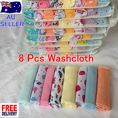 NEW 8 Pcs Baby Wash Soft Cloth Bath Towel Flannel Wipe Pack Mixed