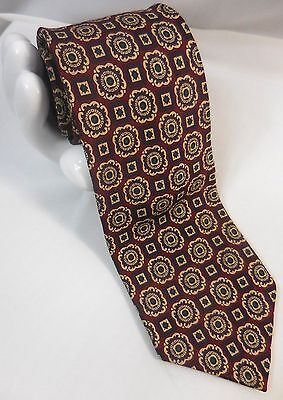 "CLUB ROOM Men's Silk Tie Geometric Floral Medallion 3.5""x 57"" Red Gold Green"