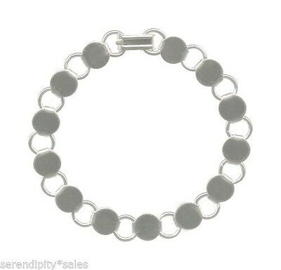 """10 each 8-8.25"""" SILVER Plated BRACELET Blanks Form Finding 13 Round Pads / Discs"""