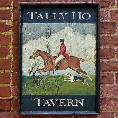 "Antique Look *HAND PAINTED ART* Wood Trade Sign ""Tally Ho Tavern"" Fox Hunt Horse"