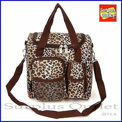 Insulated Lunch Bag Leopard Print With Adjustable Strap And Removable Liner