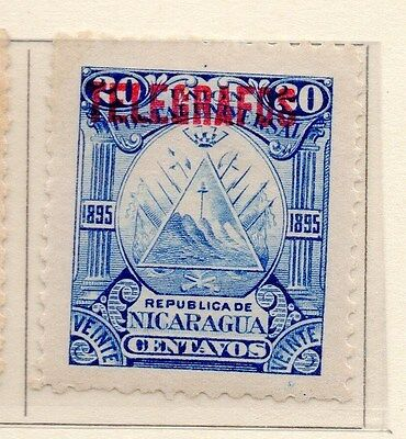 Nicaragua 1895 Early Issue Fine Mint Hinged 20c. Optd Telegrafos 155000