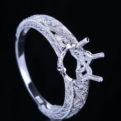Solid 10K White Gold  Vintage Semi Mount Setting Engagement Ring 8Mm Round