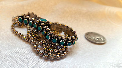 Vintage 1950s Native Turquoise SS Petit Point Needlepoint Gloves Clip Necklace