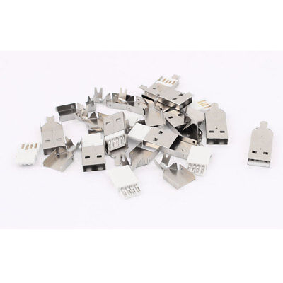 10PCS Soldering USB Type A Male Connector w Metal Shell for DIY