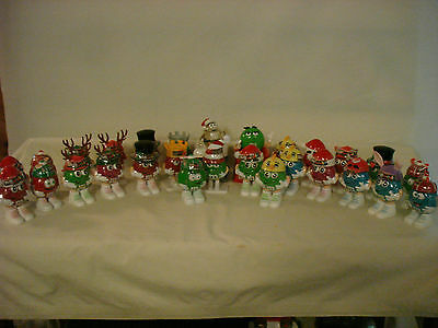 M&m's Minis Character Candy Containers M&m Snowglobe Red Green Blue Lot Of 28