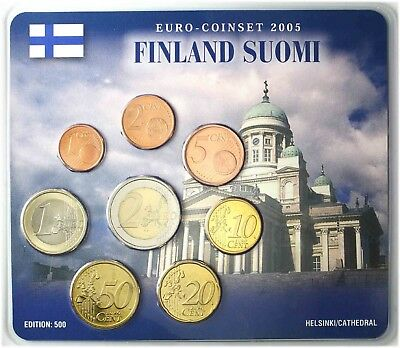 Finnland 3,88 Euro 2005 stgl. KMS 1 Cent bis 2 € Kathedrale Helsinki im Blister