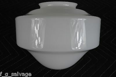 "Antique Vintage Milkglass 'Schoolhouse' Shade 4"" Fitter 1930's"