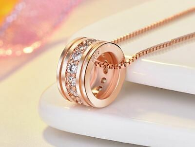 Rose Gold Round Pendant 925 Sterling Silver Chain Necklace Womens Jewellery Gift