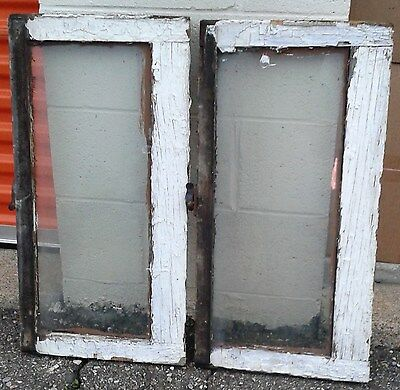 Rare Pair Transom Antique Vintage Art Deco English Glass Wood Windows Crafts