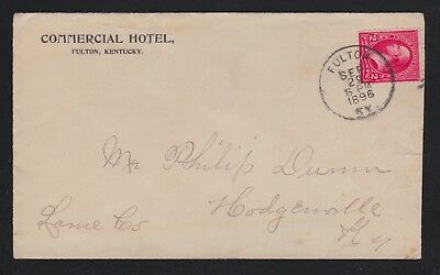 Usa 1896 Commercial Hotel Cover Fulton To Hodgesville Kentucky