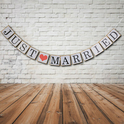 JUST MARRIED Heart Wedding Signs Banner Party Decoration Garland Photo Props