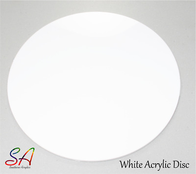 WHITE GLOSS ACRYLIC CIRCLE, DISC, PLASTIC PERSPEX 3mm & 5mm