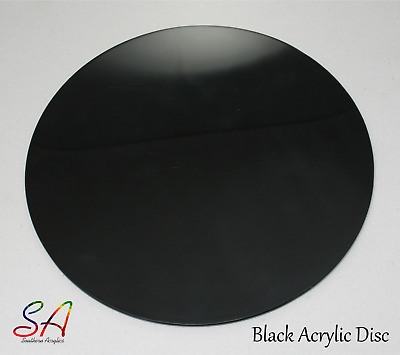 BLACK GLOSS ACRYLIC CIRCLES DISCS  3mm & 5mm SHEETS, 100mm-900mm