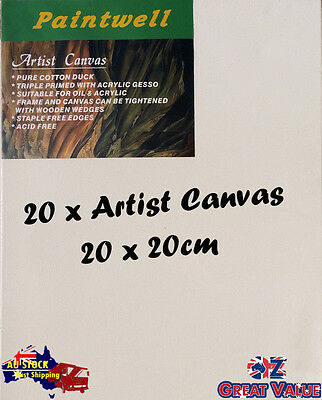20 x Blank Artist Stretched Canvas 20x20cm Heavy Duty 38mm Thick - SCS-0808B