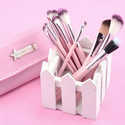 Fraulein 38  Make up Set 12pz Legnosi Pennelli Cosmetici + Custodia Rosa