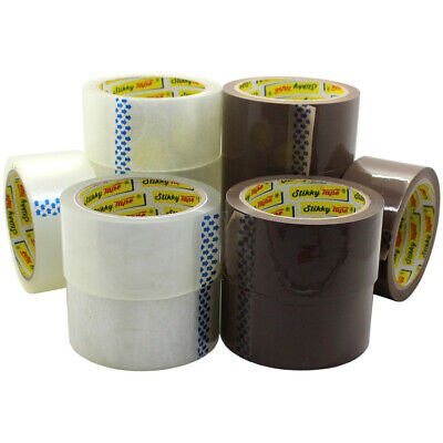 12 HUGE Mixed Rolls CLEAR & BROWN STRONG Parcel Tape Packing Sellotape Packaging