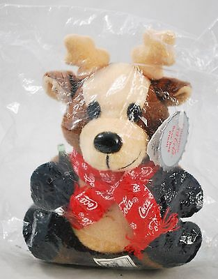 NOS NEW vintage 1998 coca cola plush reindeer red scarf bear original tags #0142