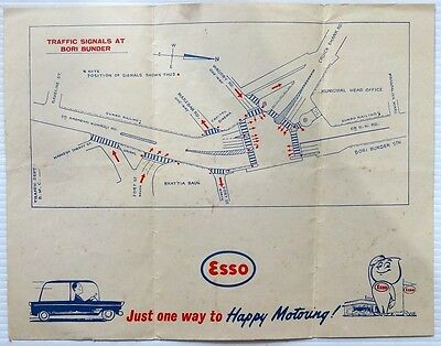 """India vintage road map of Bombay by ESSO 11""""  x 8.5"""""""