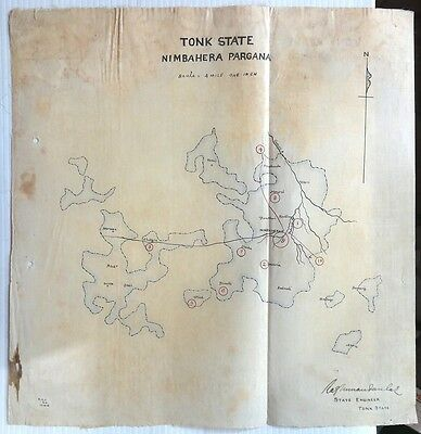 "India vintage Map of Tonk State hand drawn on cloth like paper 13"" x 13.25"""
