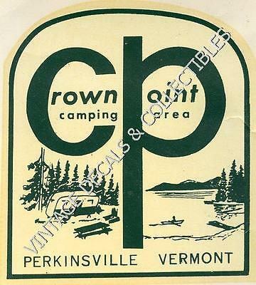 Vintage Crown Point Camping Area Perkinsville Vermont Camp Travel Decal 1952 Art