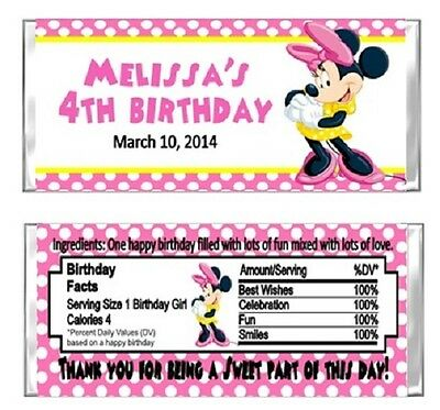 Minnie Mouse Birthday Party Candy Wrappers Favors Personalized Custom