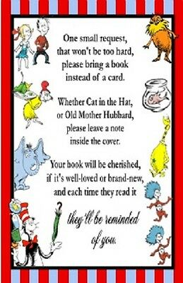 Dr. Seuss Cat Hat Thing 1 & 2 Horton Baby Shower Book Request Party Favors Cards