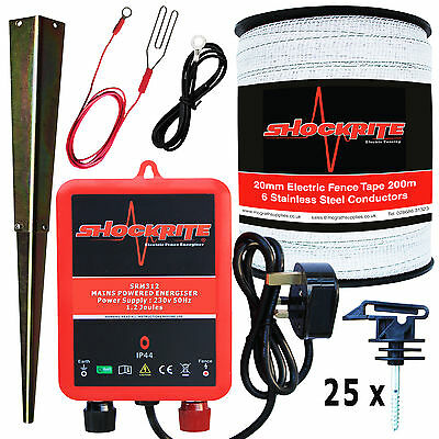 Electric Fence Mains Energiser SRM312 1.2J 200m 20mm Polytape 25 Tape Insulators