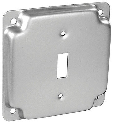 "(1 pc) 4"" Square Finished Industrial Electrical Box Cover 1 Toggle Switch Gray"