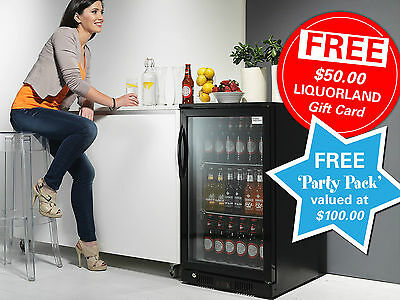 Black Bar Fridge Display Single Door Under Bench 118 Litre Cooler Double Glass