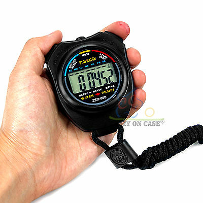 Handheld Digital LCD Chronograph Sports Counter Stopwatch Timer Stop Watch OZ