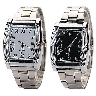 Fashion Mens Stainless Steel Band Square Business Quartz Analog Wrist Watches