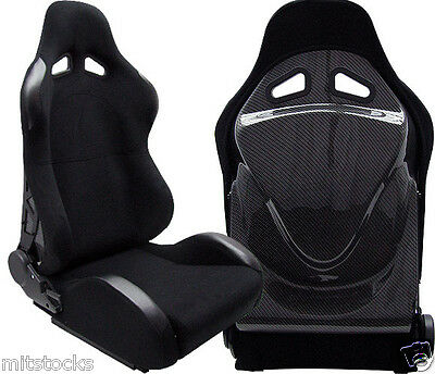 NEW 2 BLACK + CARBON BACK COVER RACING SEATS RECLINABLE w/ SLIDER BMW *