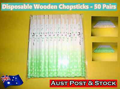 Disposable Wooden Chopsticks 50 Pairs Individually Packed (New) (A108)