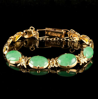 Unique 18k Yellow Gold Oval Cabochon Cut Four-Stone Jadeite Bracelet 6.0ctw
