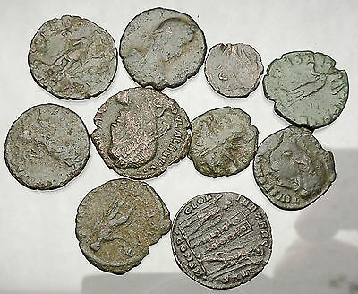 250-450AD Group Lot of 10 Authentic Ancient ROMAN Coins Collection KIT i51228