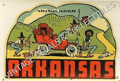 Vintage Arkansas Traveler 1951 Comic Souvenir Hillbilly Travel Decal Original