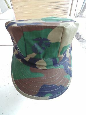 Usmc Us Marine Corps Ripstop Woodland Bdu Camo Uniform Cap 8 Point Cover Size Lg