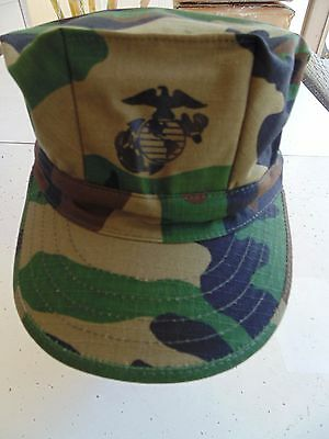 Usmc Us Marine Corps Ripstop Woodland Bdu Camo Uniform Cap 8 Point Cover Size Md