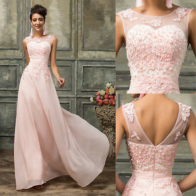 Vintage Long Formal Evening LACE Party Prom Ball Gown Wedding Bridesmaid Dresses