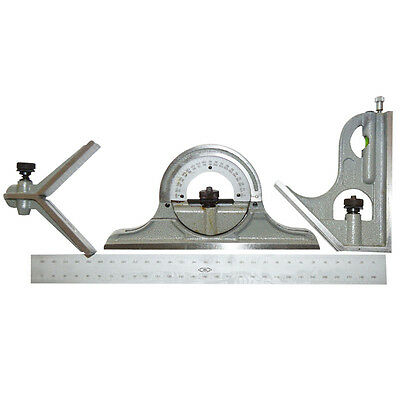 4 Piece Combination Protractor Square Tool Set Blade Length: 12""
