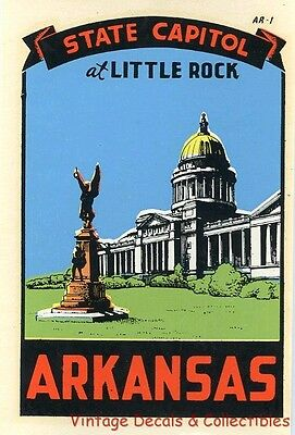 Vintage Little Rock Arkansas State Capitol Souvenir Travel Decal Original Window